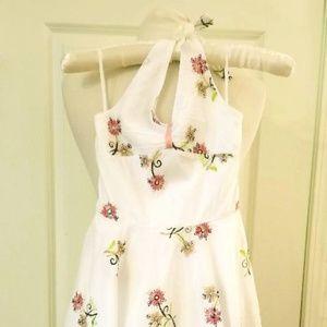 Girls Halter Floral Dress w/Tiny Shimmery Sequins